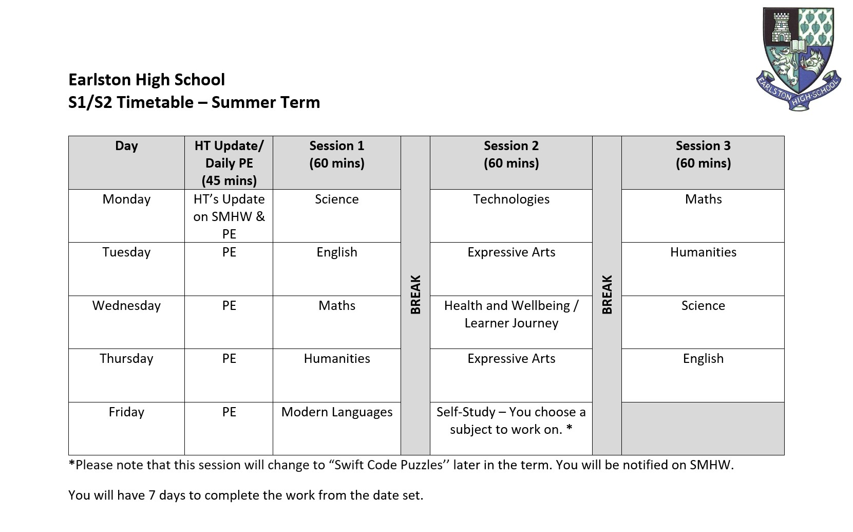 S1 S2 Timetable
